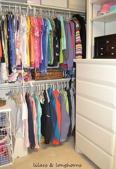 Whether a big or small closet, clothes sorted by color makes everything look better! #organization