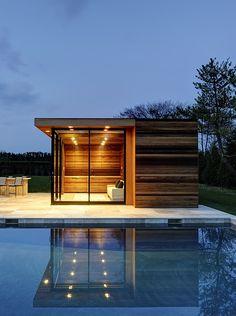 Wood & glass poolhouse.