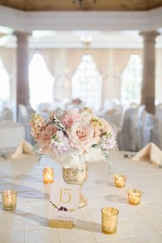 Reception and Table Decor :: Elegant blush and gold Summer Wedding // Miranda Laine Photography Summer Wedding Centerpieces, Wedding Table Decorations, Floral Centerpieces, Floral Arrangements, Blush Centerpiece, Centerpiece Ideas, Simple Elegant Centerpieces, Mercury Glass Centerpiece, Short Centerpieces
