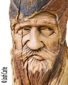 Wood Spirit Carving, Carved, Handmade Woodworking, Face Sculpture, by Josh Carte