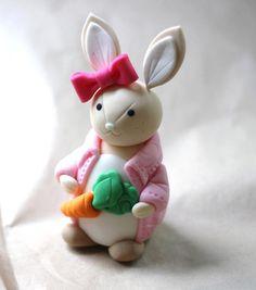 Whimsical 3D Light Toned Girl Rabbit Cake Topper by LesPopSweets