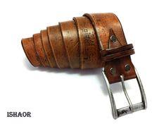 Brown leatherbelt -handmade leather belt-vintage leather belt-tooled leater belt-mens belt-womens belt. $150.00, via Etsy.