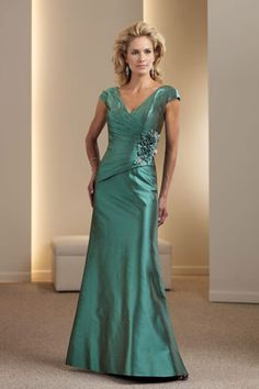 satin mother of the groom dress | cap sleeve evening gown for mother-of-the-bride |