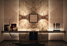 salle de bains de luxe avec un carrelage marron à motifs, éclairage led indirect et une vasque ronde en verre