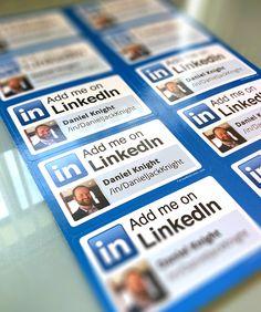 Beautiful glossy personalized LinkedIn stickers printed today for Dan Knight Twitter user: @DKConstAndPlumb