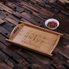 Serving Trays With Handles, Wooden Serving Trays, Wooden Plates, House Party, Food Trays, Wooden Kitchen, Wood Cutting, Cutting Board, Tray Decor