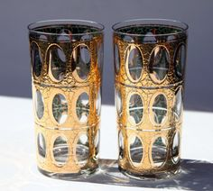 Alligator Crocodile Oval Crackle Gold and Green Mid Century Modern Madmen Signed Tall Sexy Bar ware High Ball Tumblers