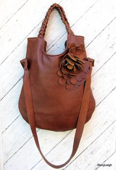 Rustic Leather Shoulder Tote Bag by Stacy Leigh