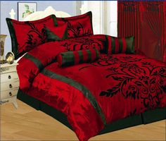 New Burgundy Red Black Applique Floral Comforter Set Queen King Curtains | eBay