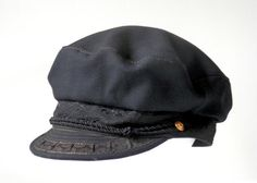 1930 s Era Greek Fisherman s Hat Black Brocade and Wool with Gold Buttons  and Braids Greek Fisherman 67a8e446e0bb