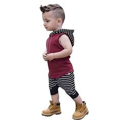Fabal 2PCS Toddler Kids Baby Boys Outfit Clothes T-Shirt Tops+Stripe Shorts Pants 1Set