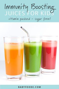 Orangetastic Ginger Juice These three immunity boosting juice recipes are fully loaded with nutrients to help boost your kiddos immunity. Healthy, easy and totally tasty, your kids and toddlers will love these vegetable juice. Juice Recipes For Kids, Healthy Juice Recipes, Juicer Recipes, Healthy Juices, Healthy Drinks, Baby Food Recipes, Smoothie Recipes, Detox Juices, Cleanse Recipes