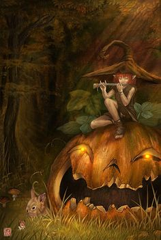 elf on jack-o-lantern