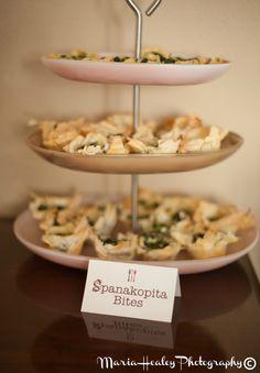 Food & Wine Bridal Shower, Spanakopita Bites. #bridalshower Mariahealey.com http://www.dandpcelebrations.com