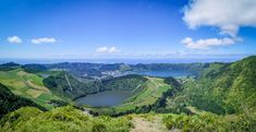 Caldera lakes Lagoa de Santiago and Lagoa Azul behind it seen from Boca de Inferno Azores, Maine, Portugal, Flora, Highlights, Island, Lakes, Outdoor, Tips