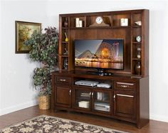 Cappuccino Wood 2 Drawers 80 Inch TV Console W/Hutch