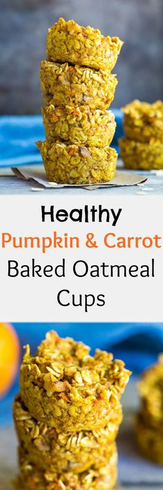These Healthy Pumpkin and Carrot Baked Oatmeal Cups are great for a make ahead, grab and go breakfast that will leave you feeling full! Vegan and gluten free too!