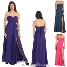 Long Graduation dress in color Blue, Fuchsia/Pink, Purple & more - Strapless style in Chiffon - Plus Size available. - $79 - Dress URL: http://www.jessicasfashion.com/Simple-stylish-strapless-bridesmaid-dress-MQ848.html #dress #dressshopping  #fashion  #chiffondress #chiffondresses  #longdress #longdresses #straplessdress #straplessdresses #plussizedress