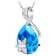 Elegant   Austrian Crystal Waterdrop Butterfly Pendent Necklace Wedding Jewelry for Women High Quality