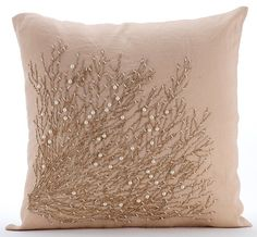 Jute Drought - 16x16 Inch Beige Linen Pillow Cover with Jute Cord & Pearl Beads Embroidery.