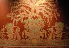 Mural from the Tepantitla compound showing what has been identified as an aspect of the Great Goddess of Teotihuacan, from a reproduction in the National Museum of Anthropology in Mexico City.