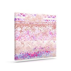 "Kess InHouse Marianna Tankelevich ""Broken Pattern"" Pink Purple Outdoor Canvas Wall Art, 8 by 10-Inch"