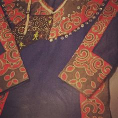 blue and red tribal clothes