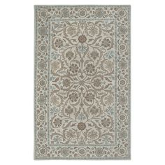 New Zealand wool rug with a floral design in beige and blue. Hand-tufted in India.  Product: RugConstruction Materia...