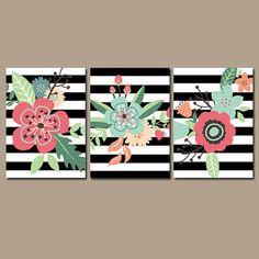 Preppy Flower Wall Art Artwork Black White Stripes by TRMdesign White Canvas Art, Mini Canvas Art, Bedroom Art, Nursery Wall Art, Bedroom Paintings, White Nursery, Acrylic Painting Canvas, Diy Painting, Cuadros Diy