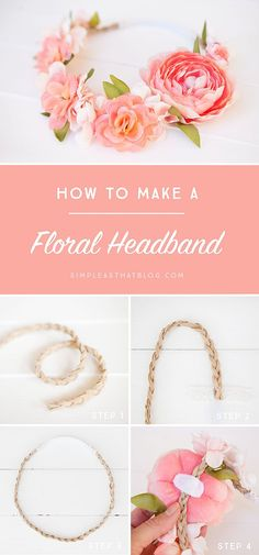 Boho Weddings Inspiration | Create a simple and beautiful floral headband for Spring with this easy to follow tutorial.