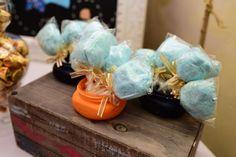 Distressed mason jars & cotton candy puffs