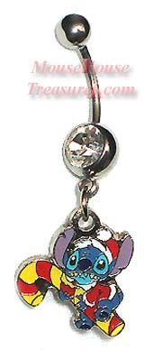 Stitch and Candy Cane Christmas Holiday Belly Ring