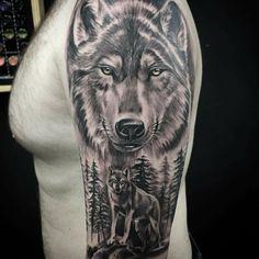 - My list of the most creative tattoo models Wolf Tattoo Forearm, Tribal Wolf Tattoo, Wolf Tattoos Men, Wolf Tattoo Design, Dope Tattoos, Animal Tattoos, Leg Tattoos, Body Art Tattoos, Tattoos For Guys