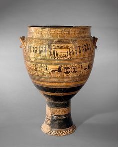 Terracotta krater Attributed to the Hirschfeld Workshop Period: Geometric Date: ca. 750–735 B.C. Culture: Greek, Attic Medium: Terracotta