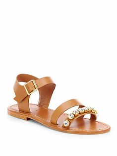 I like the added jewels. Studded Sandals, Leather Sandals, Fashion Shoes, Fashion Accessories, Shoe Department, Jeweled Sandals, Pretty Shoes, Shoe Closet, Rock
