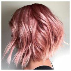 Rose Gold Short Hair, Copper Rose Gold Hair, Blond Rose, Rose Gold Hair Dye, Rose Gold Hair Brunette, Champagne Blonde Hair, Pink Blonde Hair, Strawberry Blonde Hair, Balayage Hair Blonde