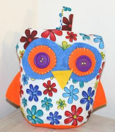 Handcrafted Fabric and felt owl doorstop, cute present for dining living room, bedroom; teenage girl teenager present. Bright floral design
