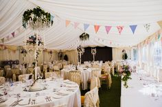 Country garden wedding - cream candelabra arrangements and bunting - Beautiful images by Amy B Photography from a country wedding at Marleybrook House (37)