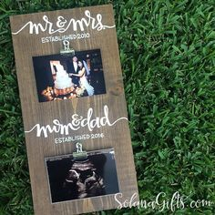 Mr & Mrs, Mom and Dad Est Wood Sign   Baby Shower Gift Pregnancy Announcement…