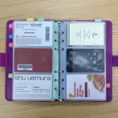 Cards Chao project - Filofax Saffiano Raspberry Compact as my card wallet