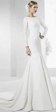 Modest Tulle & Satin Jewel Neckline Mermaid Wedding Dress With Beaded Lace Appliques