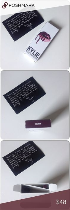KYLIE JENNER LIPKIT IN KOURT K NIB Kylie Jenner Lipkit in Kourt K  includes lip pencil liner & lipstick. The color is dark much like eggplant. I use this in Mary Jo K & like the endurance , smoothness of application & packaging. After awhile it does start yo flake off a bit because it is much like a velvet covering for your lips that actually does stay on fairly well!  A touch up with the pencil I found worked well!  Id rate this product a bit better than most matte lip covering I've tried…