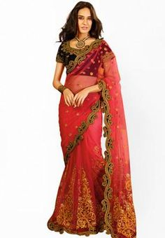 Touch Trends presents this pink coloured saree, which will make you look striking and even more beautiful. Made of net, this saree is quite comfortable to wear and easy to drape as well. This saree measures 5.5 m and it comes with a 1.00 m blouse piece. -www.cooliyo.com