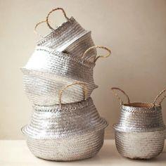 Spray painted wicker baskets. Beautiful useful decorations.