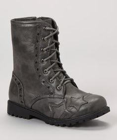 Gray Combat Boot by VeeVee (faux)