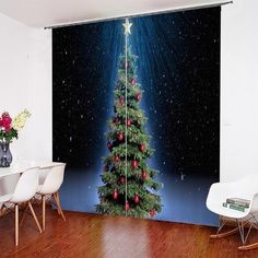 "3D Christmas Tree Art Digital Printed Curtains 52 * 84"", 80 * 84"", 104 * 84"", 118 * 106"" Inches-Mr Koala      窗帘#curtain#Vorhang#занавес#rideau#verho#cortina#gardin#cortina#tenda#mrkoalahome 3d Curtains, Printed Curtains, Christmas Tree Art, All Things Christmas, Curtain Weights, 3d Printer Projects, Duvet Cover Sets, Digital Prints, 3d Printing"