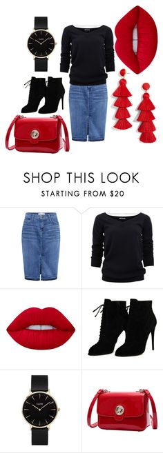 """love red"" by fall83 on Polyvore featuring Current/Elliott, Brunello Cucinelli, Lime Crime, Tom Ford, CLUSE and BaubleBar"