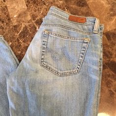 """AG Adriano Goldschmied The Stilt Jeans 31"""" inseam Cigarette leg jeans. Size 27. Soft light weight summer denim jeans. Like new / New without tag. Approximate 31"""" inseam. AG Adriano Goldschmied Jeans Straight Leg"""