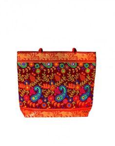 Embroided Red Gujrati Handbag