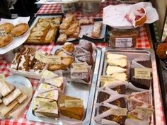 North Cross Road market, East Dulwich London.  Plenty of baked products to drool over.  You can pick up some things for a picnic and head to Peckham Rye Park for lunch and a stroll through the Japanese garden.